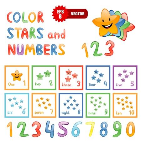numero diez: Conjunto de vectores de estrellas gracioso de color y n�meros para la educaci�n de los ni�os