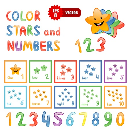 6 7: Vector set of color funny stars and numbers for children education