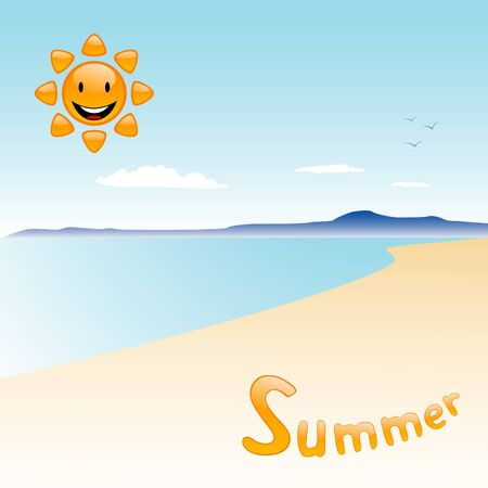 Vector view of beach with cartoon sun and