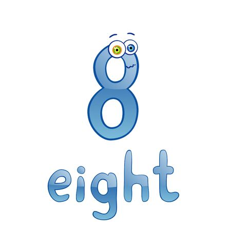 Vector illustration of cute number eight for children education Stock Vector - 9944484