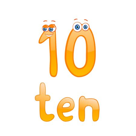 Vector illustration of cute number ten for children education Vector
