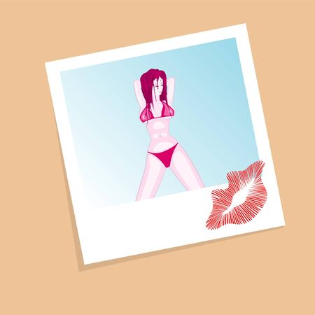 Vector illustration of bikini girls photo with lips print Vector