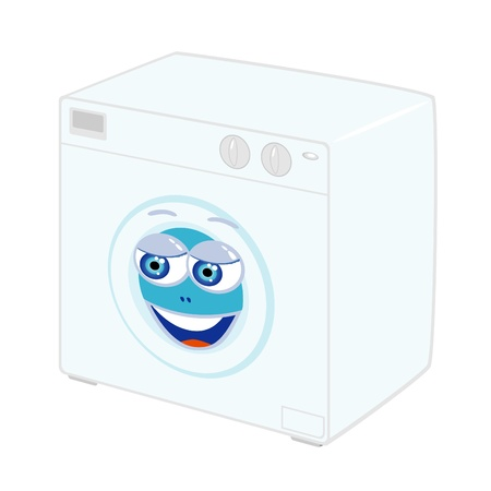 Vector illustration of cartoon washing machine