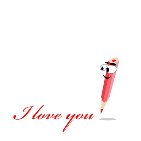 Vector illustration of cartoon boy crayon in love Stock Vector - 9946034