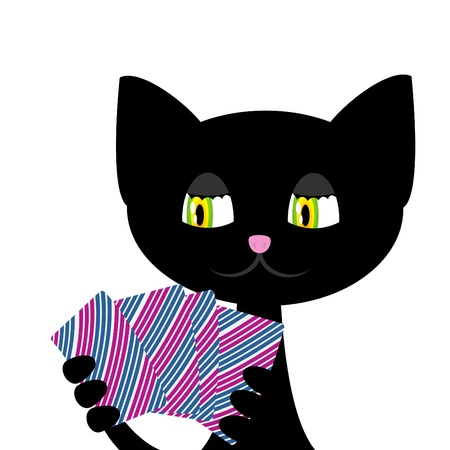 Vector illustration of black cat is playing cards Vector