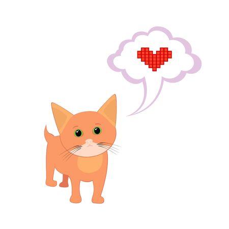 Isolated illustration of cute cartoon kitten Vector