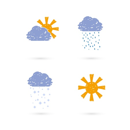 Vector set of hands draw meteo icons Stock Vector - 12910596