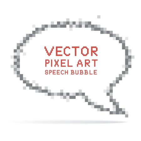 Vector illustration of round speech bubble in pixel art style Stock Vector - 12910601