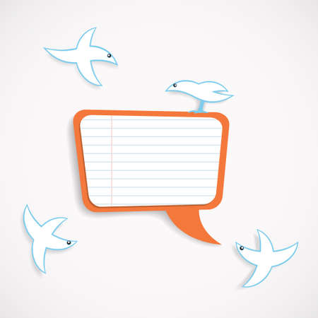 illustration of square speech bubble and birds Vector