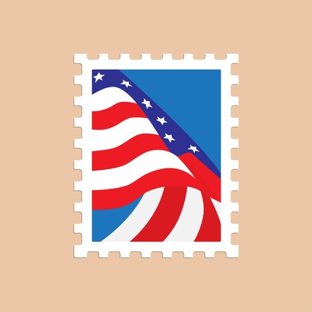 philately:  illustration of a postage stamp with the American flag