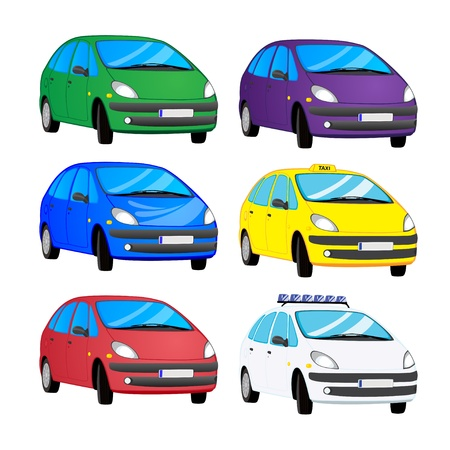 Collection of cartoon color cars Vector