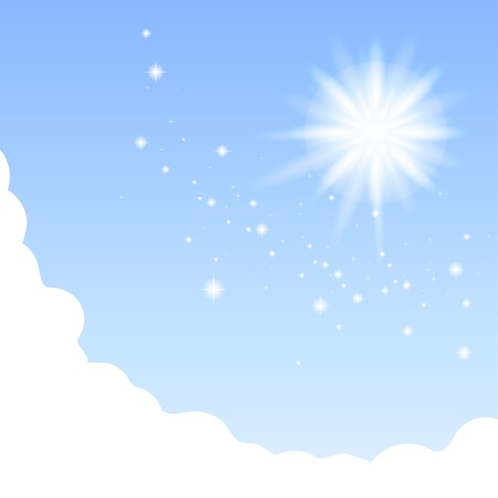 Vector background of blue divine sky with clouds  sun and sparkles