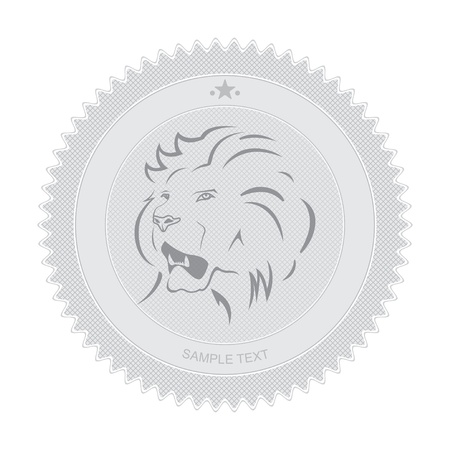 Vector illustration of retro badge with lion emblem