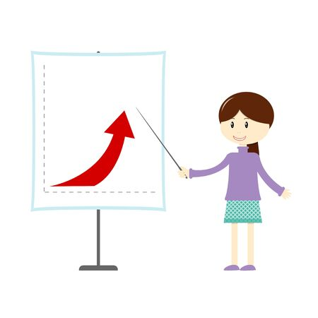Vector illustration of cartoon girl shows successful business chart Illustration