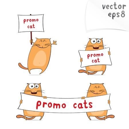 Vector set of cartoon cats for your advertisement