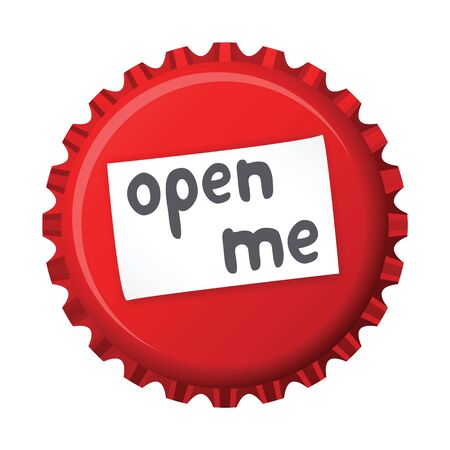 Vector illustration of red bottle cap with little sticker and text   open me  Vector