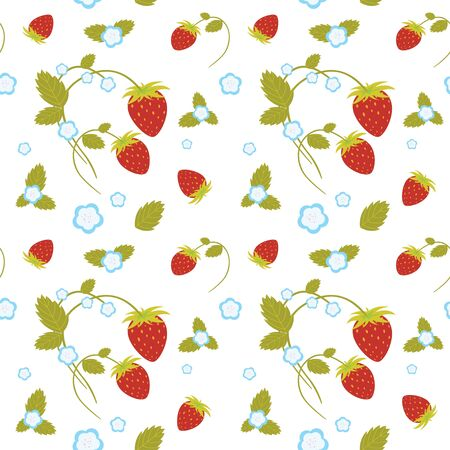 Vector seamless texture of strawberries and flowers Vector