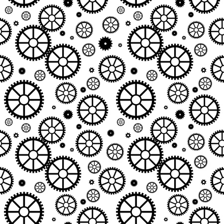 Vector seamless texture with black mechanical wheels Vector