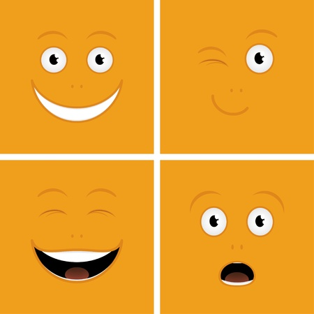 Vector set of funny cartoon characters with emotions