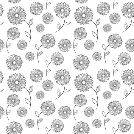 Vector seamless texture with monochrome vintage flowers Vector