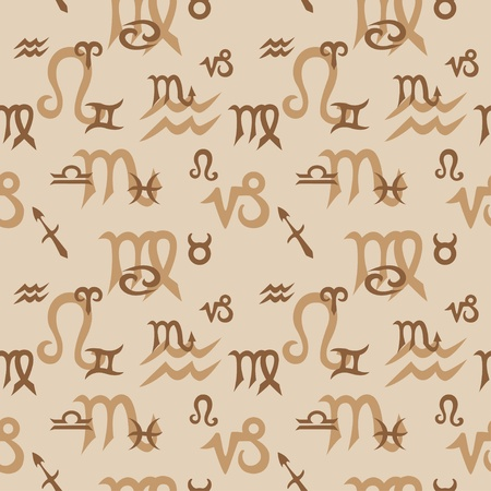 Vector seamless texture with classic zodiac symbols  Illustration