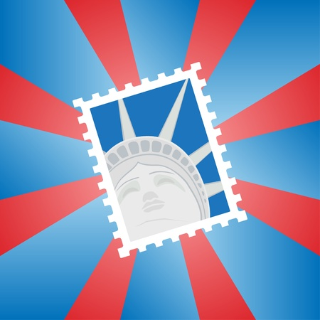 Vector illustration of a postage stamp with the Statue of Liberty Vector