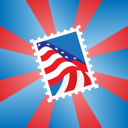 Vector illustration of a postage stamp with the American flag Vector