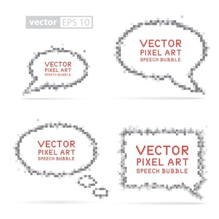 Vector set of retro speech bubbles in pixel art style Vector
