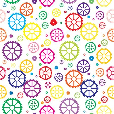 Vector seamless texture with color mechanical wheels Vector