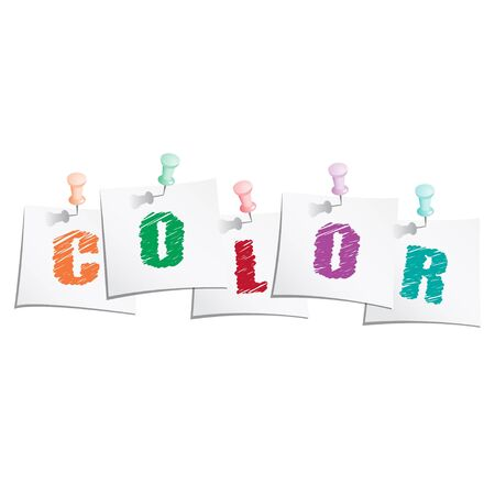 Hands draw text  color  on paper note with push pin Vector