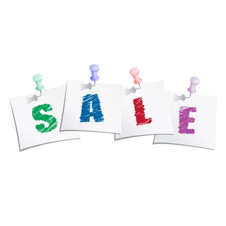 Hands draw text  sale  on paper note with push pin Vector