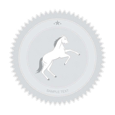 Vector illustration of retro badge with white horse reared up Stock Vector - 13607298