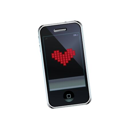 Vector illustration of sensory mobile phone with heart icon Vector