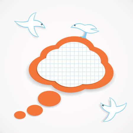 Vector illustration of speech cloud and birds Vector