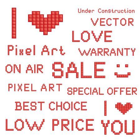 Vector set of red pixel art slogans Stock Vector - 13607291