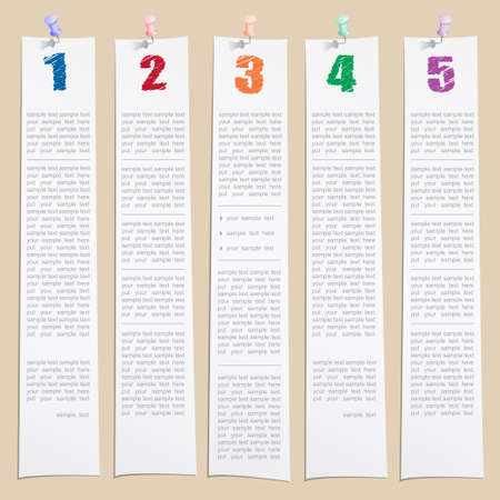 Vector design template of hands draw numbers on papers with push pin Vector