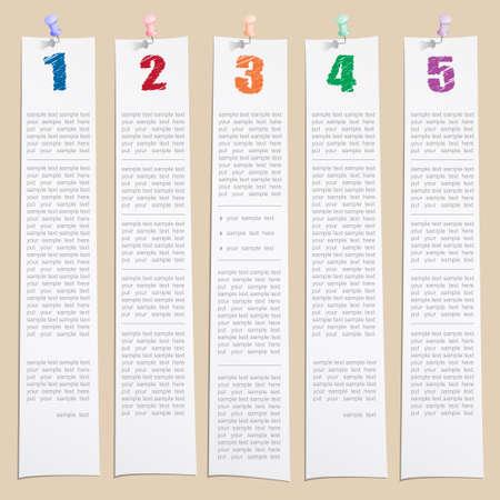 Vector Design-Vorlage von Hand zu zeichnen Zahlen auf Papier, das mit Push-Pins Lizenzfreie Bilder - 13607303
