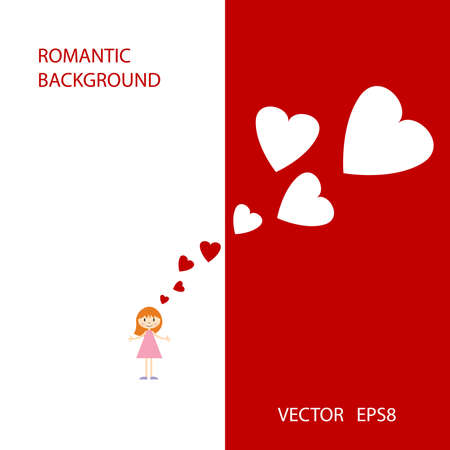 Vector romantic background with cute little girl and hearts Stock Vector - 13607283