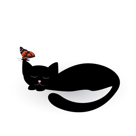Vector illustration of sleeping black cat with butterfly on the ear
