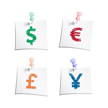 Hands draw money symbols on paper note with push pin Vector