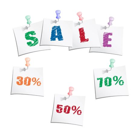 Sale tags with push pin Vector