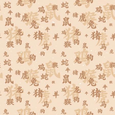 year of rooster: La textura perfecta de los antiguos jerogl�ficos chinos del zodiaco