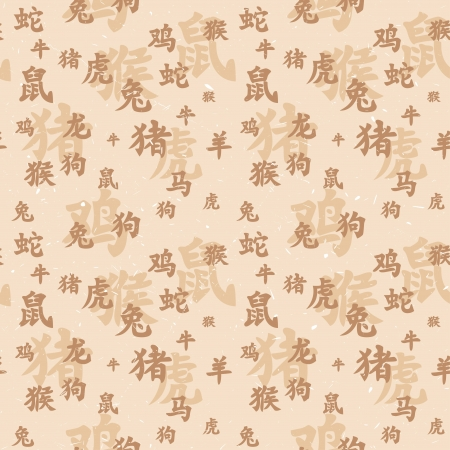 Seamless texture of ancient chinese zodiac hieroglyphs Vector