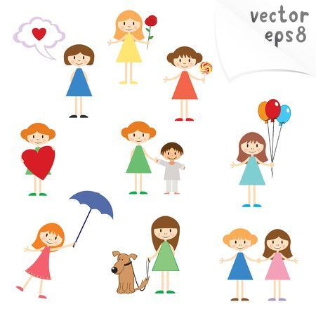 cute cartoon little girls Vector