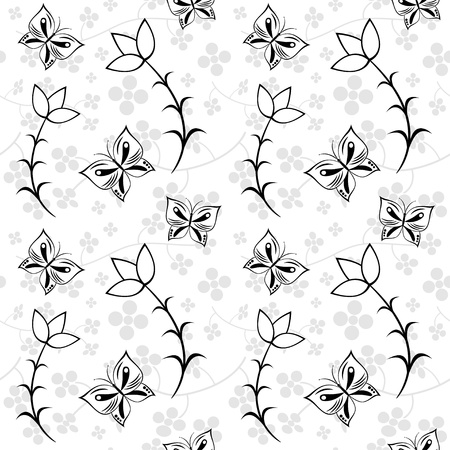 monochrome seamless texture of floral ornamental pattern and butterflies Vector