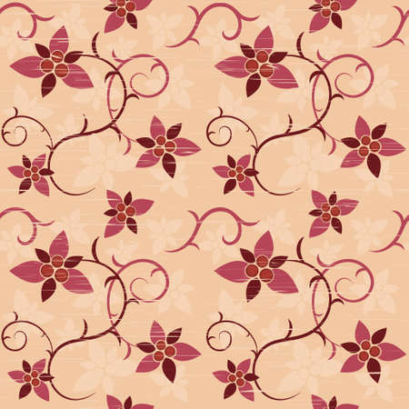 Seamless pattern of floral ornament with scratches illustration  Vector