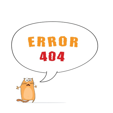 page  Error 404  for web design with funny cartoon cat