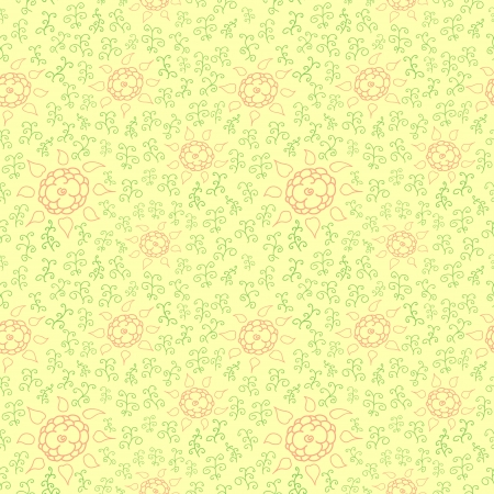 Seamless pattern of hands draw ornament with flowers Vector