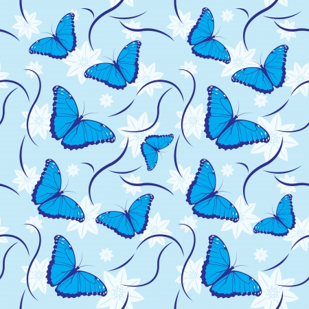 pollinate: Seamless pattern with blue flowers and butterflies Illustration