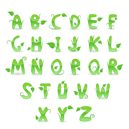 Green floral alphabet illustration Stock Vector - 14085602